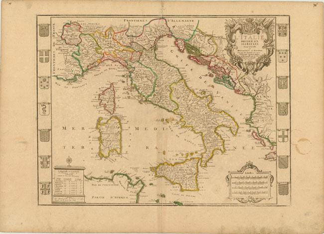 1729 Map of Italy L'Italie Divisee en ses Estats Photo