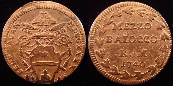1740 Sede Vacante Half Baiocco Coin Photo