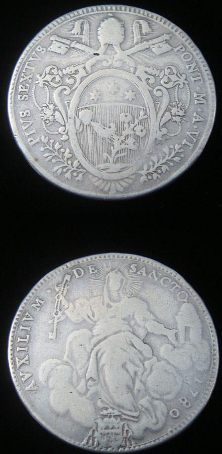 Pius VI 1780 Silver Scudo Coin VF/F Photo