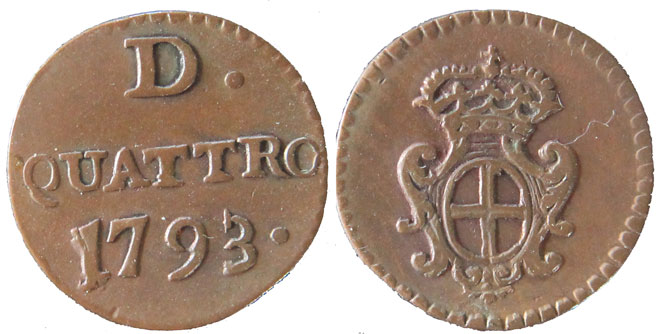 1793 Genoa 4 Old Denari XF+ Photo