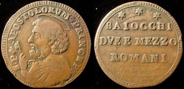 Pius VI 1796-7 2 1/2 Baiocchi Coin Photo