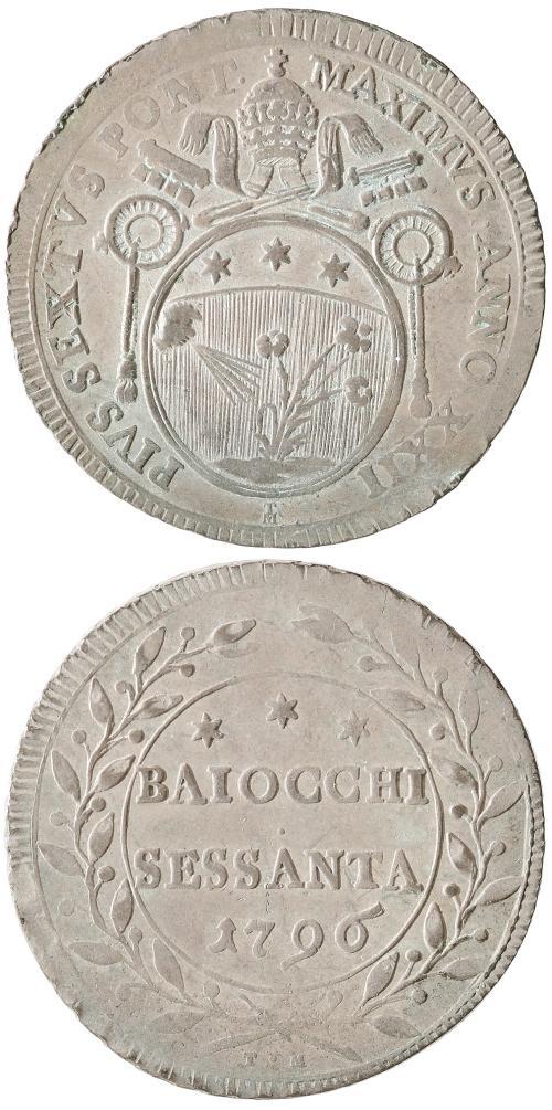 Pius VI 60 Baiocchi 1796 Papal Coin Photo