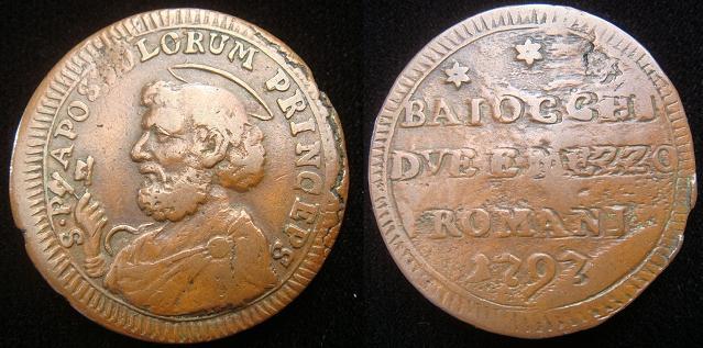 Pius VI 1797 Due Baiocchi e Mezzo Coin Photo