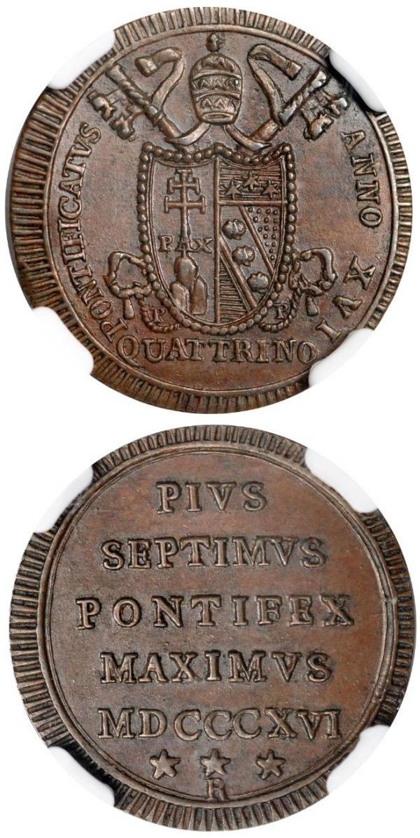 Pius VII 1816 Quattrino NGC MS64BN Photo