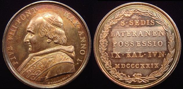 Pius VIII (1829-30) Possession Lateran Ar Medal Photo