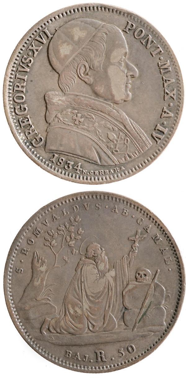 Gregory XVI 1834 Half Scudo St. Romuald Coin Photo