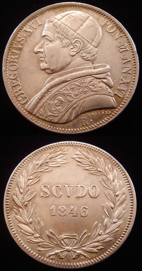 Gregory XVI 1846 Silver Scudo Coin AU Photo