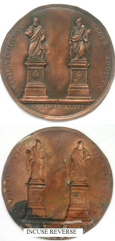 Pius IX 1847 Galvano Medal Ss. Peter & Paul Photo