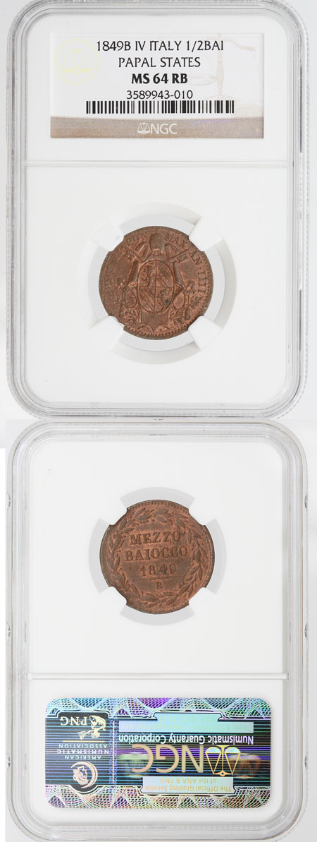 Pius IX 1849B AN IV 1/2 Baiocco NGC MS64 Photo