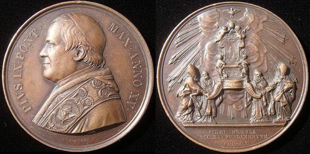 Pius IX (1846-78) A.XV Medal Altar of St. Peter Photo