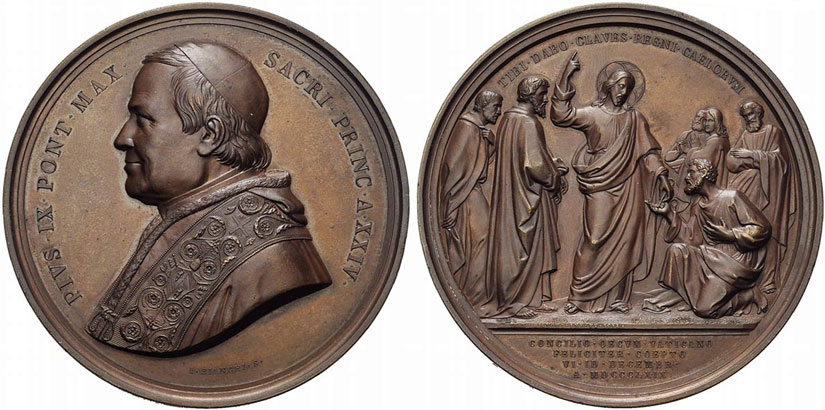 Pius IX 1869 First Vatican Council Medal 74mm Photo