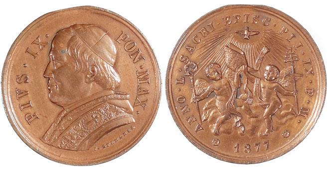 Pius IX 1877 Episcopal Jubilee Medal Photo