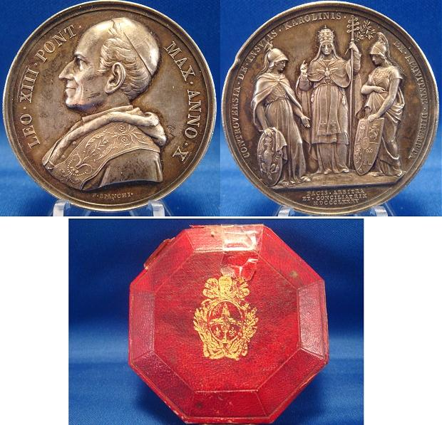 Leo XIII 1887 A.X Silver Medal with Case Photo