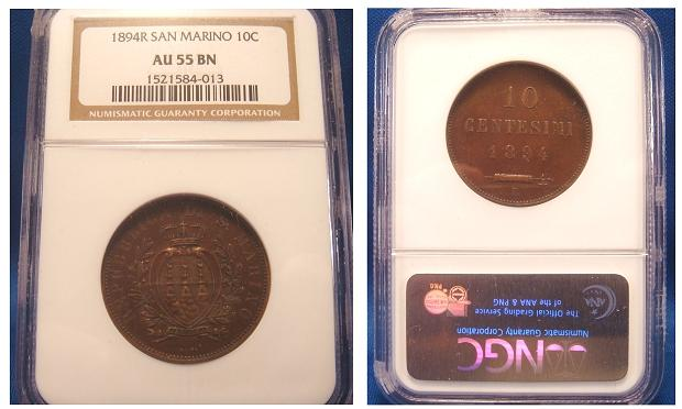 1894 San Marino 10 Centesimi Coin AU 55 Photo