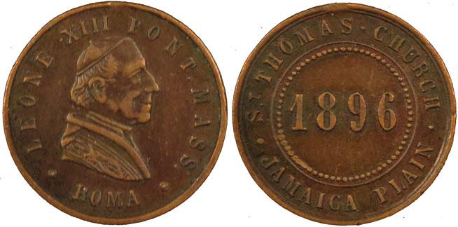 Leo XIII 1896 St Thomas Church Jamaica Plain Medal Photo