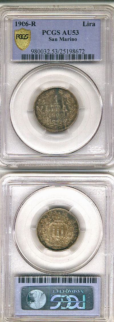1906 San Marino 1 Lira PCGS AU53 Photo