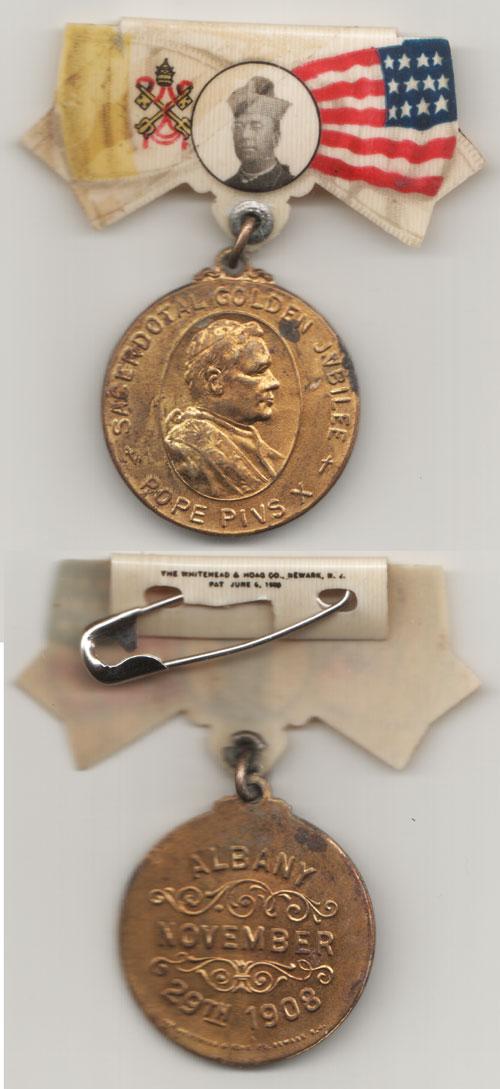 Pius X 1908 Sacerdotal Medal Albany, NY Photo