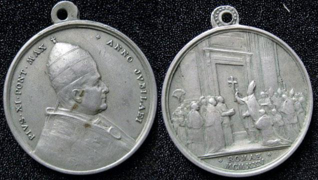 Pius XI 1925 Holy Year Medal 31mm Photo