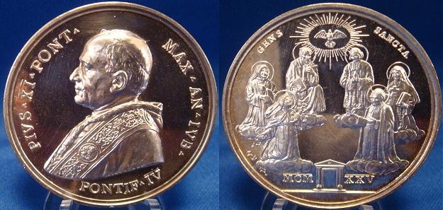 Pius XI (1922-39) A.IV (1925) Silver Medal Photo