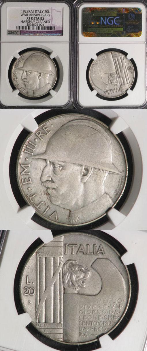 1928 Italy 20 Lire Silver Coin Photo