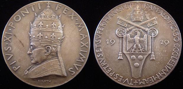 Pius XI 1929 Founding of Vatican City Medal Photo
