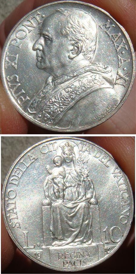 1932 Vatican 10 Lire Silver Coin Photo