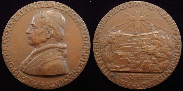 Pius XI 1933 Founding of Servite Order 79mm Photo