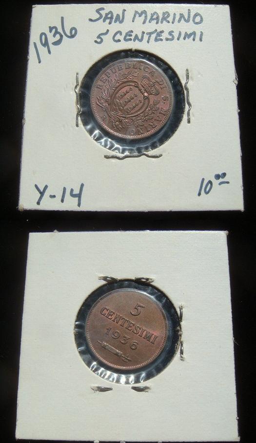 1936 San Marino 5 Centesimi Coin Photo