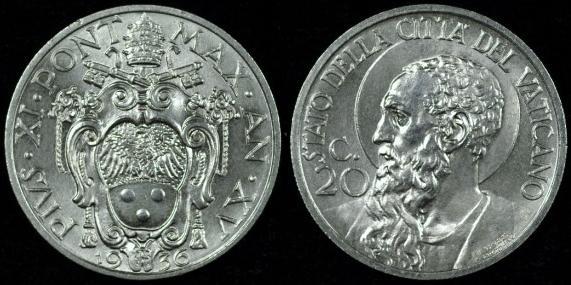 1936 Vatican 20 Centesimi St. Paul Coin Photo