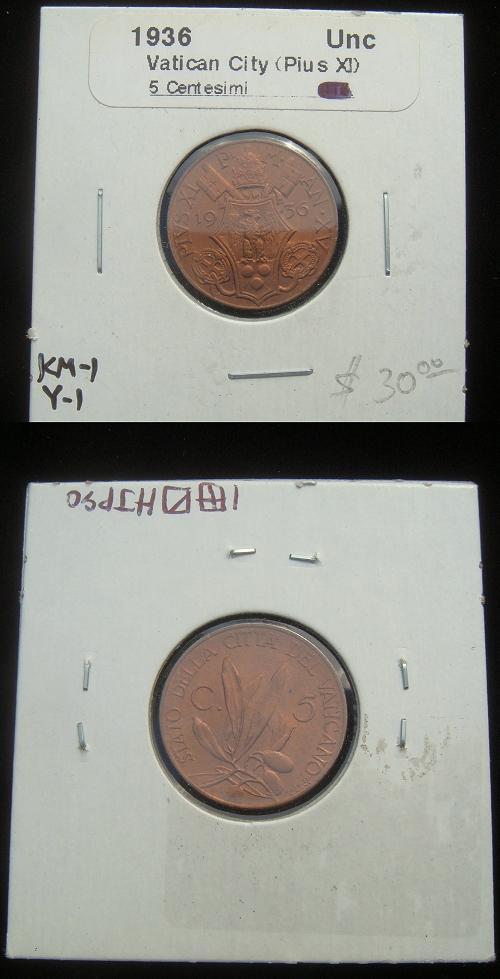 1936 Vatican 5 Centesimi Coin Photo