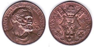 1936 Vatican 10 Centesimi Coin Red UNC Photo