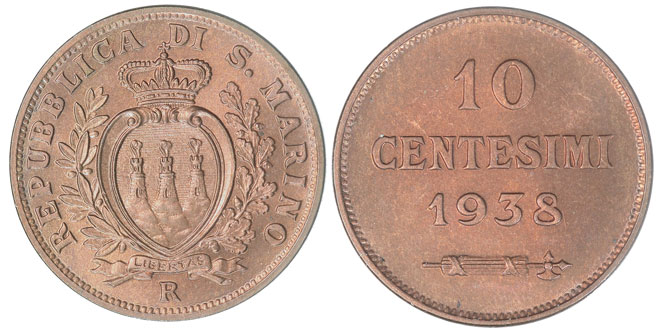 1938 San Marino 10 Centesimi Coin BU Photo