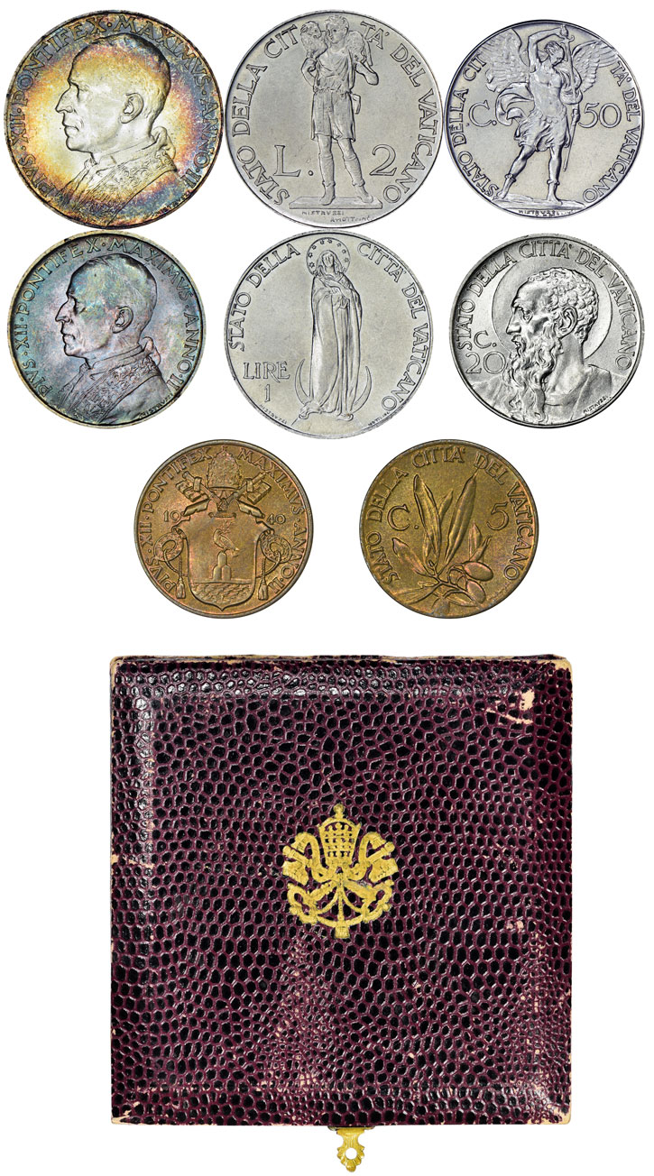 1940 Vatican Coin Set, 8 Coins With Case Photo