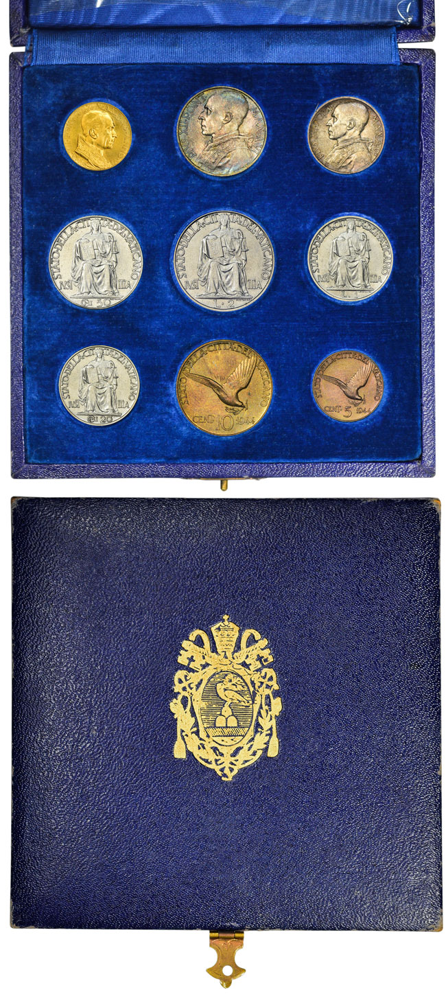 1944 Vatican 9 Coin Set With Case Photo