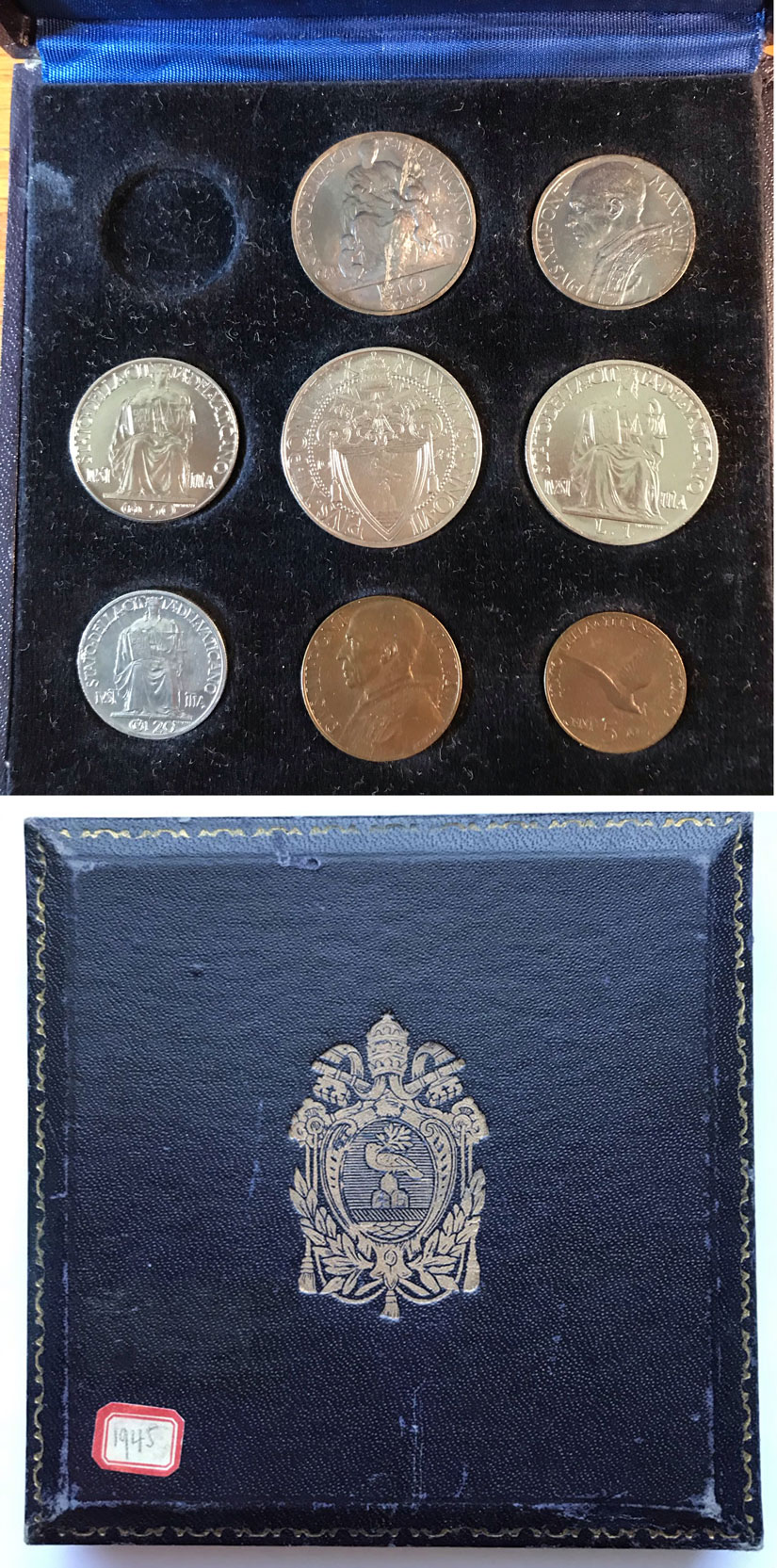 1945 Vatican 8 Coin Set With Case Photo
