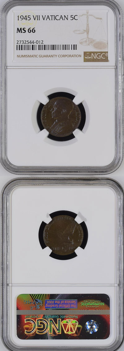 1945 Vatican 5 Centesimi Coin NGC MS66 Photo