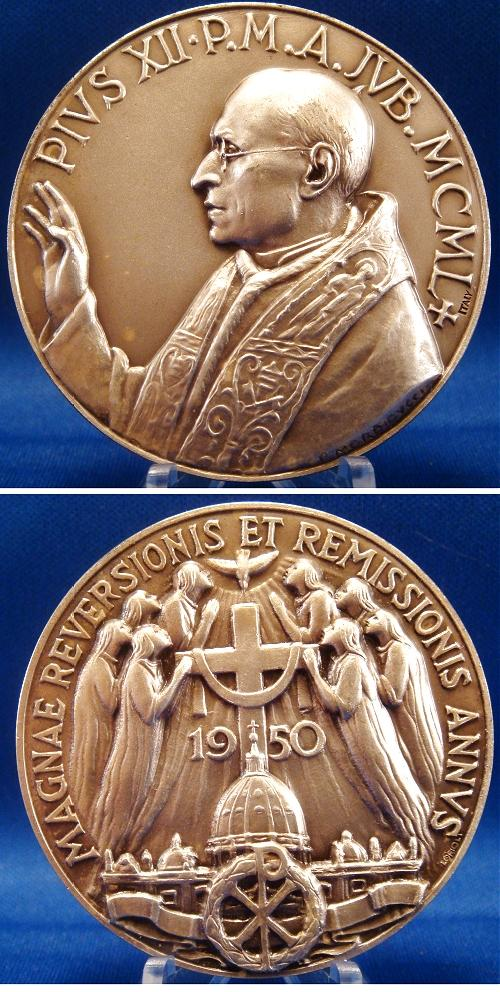 Pius XII 1950 Anno Jubilee Medal 50mm Photo