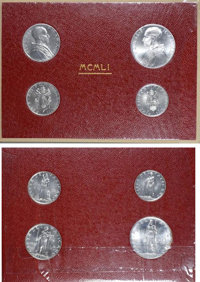 1951 Vatican Mint Coin Set, 4 Coins BU Photo