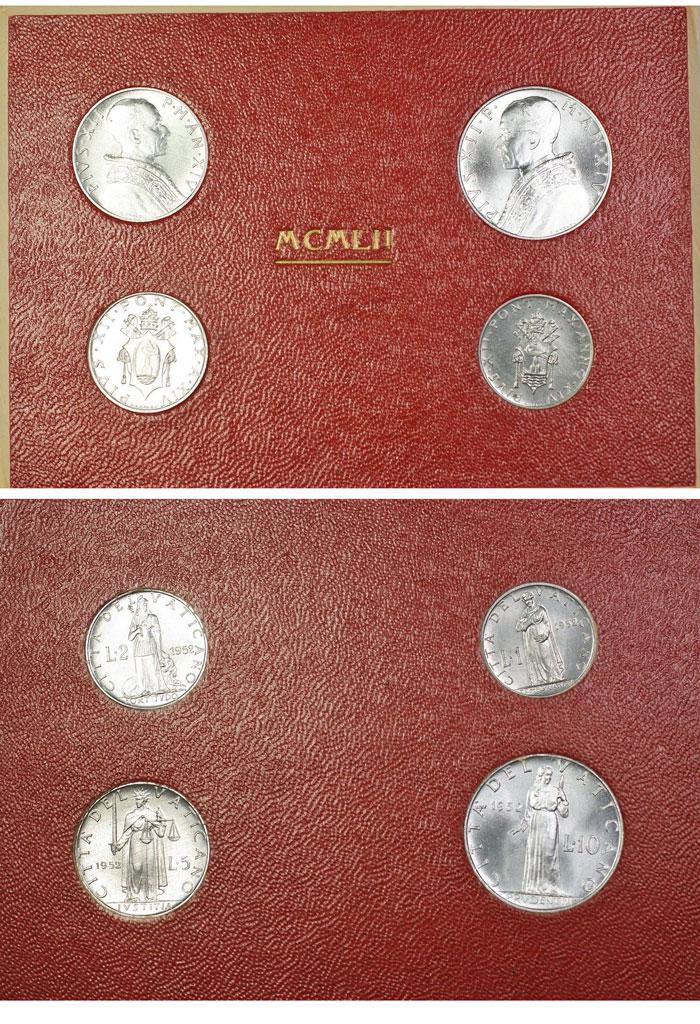1952 Vatican Mint Coin Set, 4 Coins BU Photo