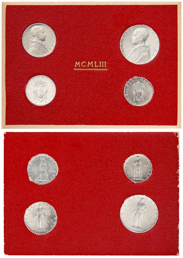 1953 Vatican Mint Set, 4 Coins BU Photo