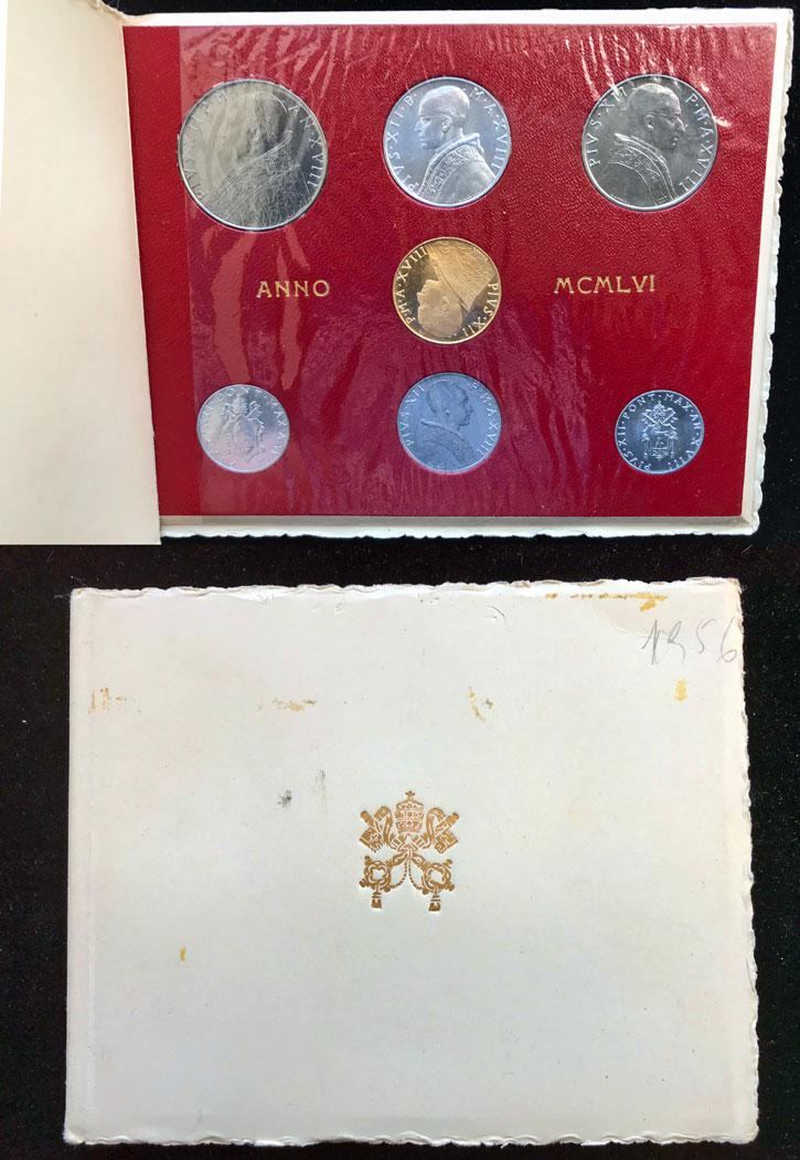 1956 Vatican Mint Set With 100 Lire Gold Coin BU Photo