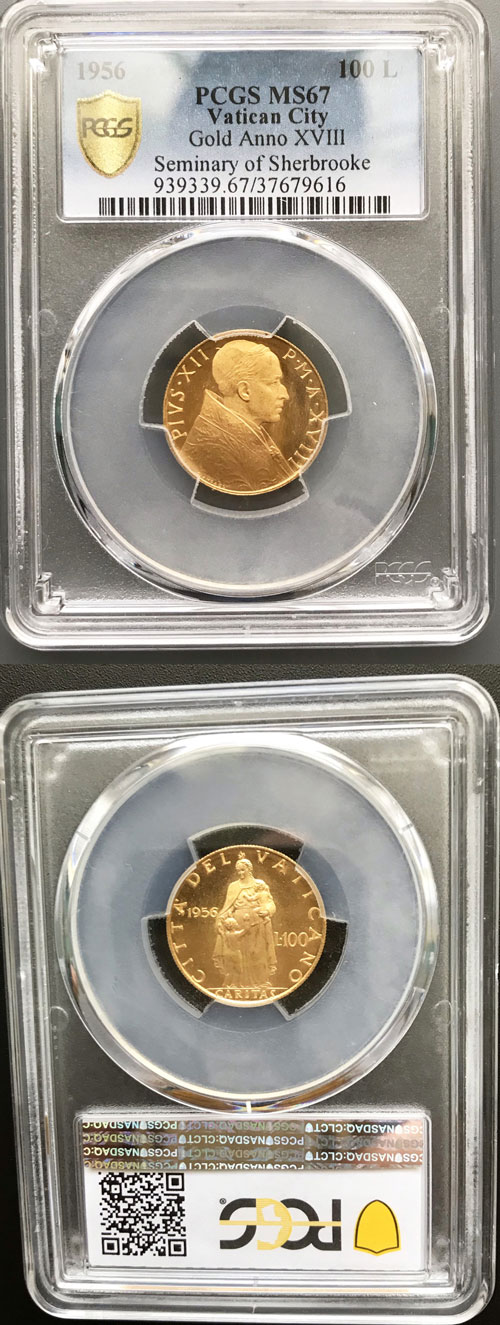 1956 Vatican 100 Lire Gold PCGS MS67 Photo