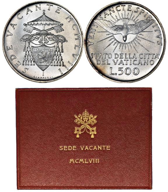 1958 Sede Vacante 500 Lire (Folder Variant) Photo