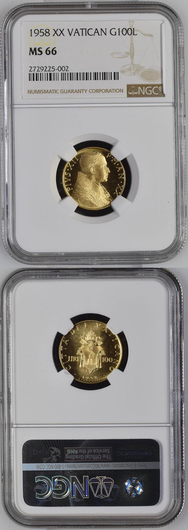 1958 Vatican 100 Lire Gold MS66 Photo