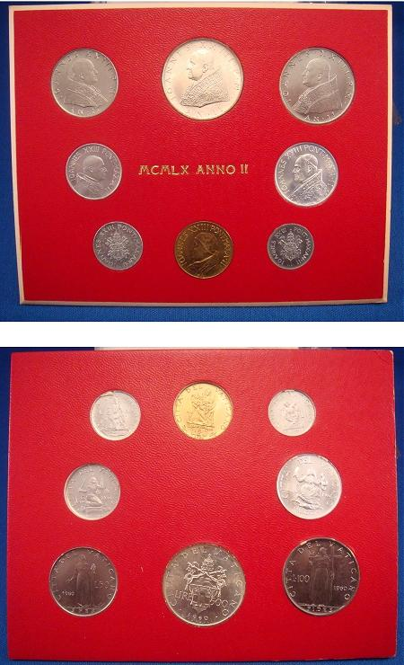 1960 Vatican Mint Set, 8 Coins BU Photo