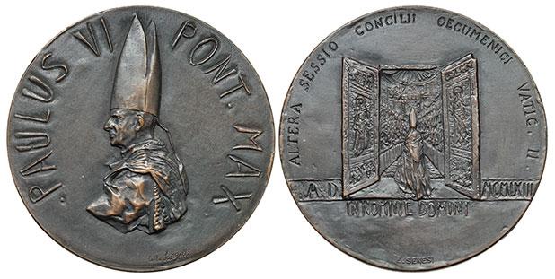 Paul VI 1963 2nd Session Vatican II Bronze Photo