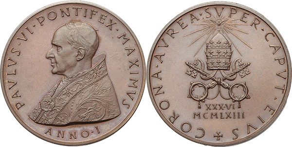 Paul VI 1963 Bronze Coronation Medal Photo