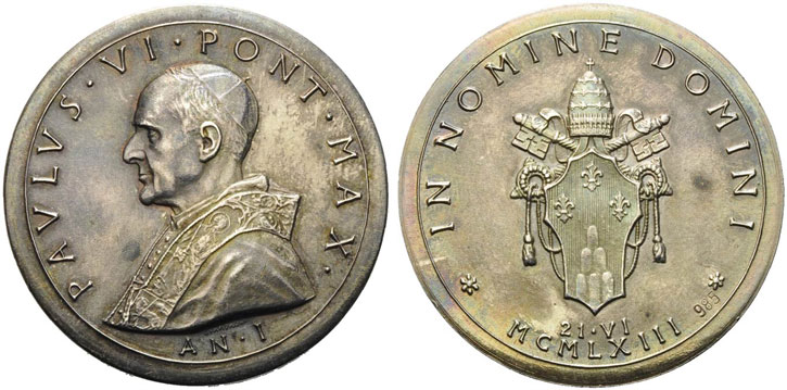 Paul VI 1963 Ag Election Medal 34mm Photo