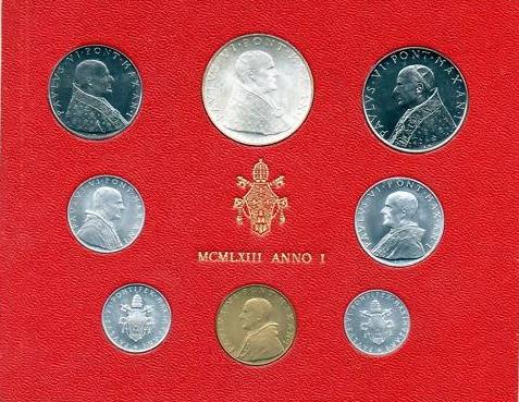 1963 Vatican Mint Set, 8 Coins BU Photo