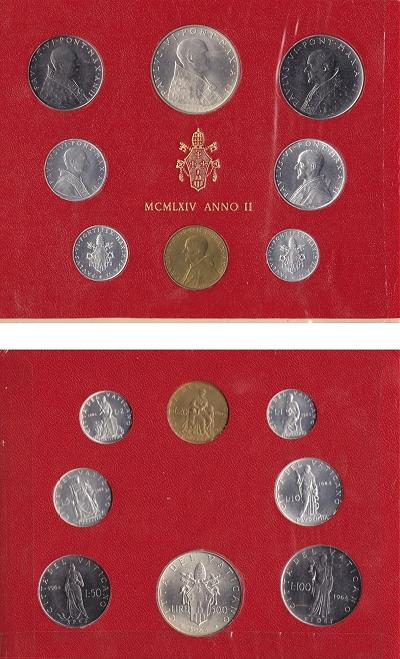 1964 Vatican Mint Set, 8 Coins BU Photo